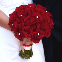 Red Rose Wedding Bouquet with Diamonds.