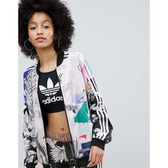 adidas Originals X Farm Multi Print Bomber Jacket ($90) ❤ liked on Polyvore featuring outerwear, jackets, multi, bomber style jacket, zip bomber jacket, zipper bomber jacket, patterned bomber jacket and embroidered bomber jackets