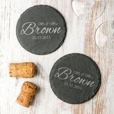 These stylish personalised wedding coasters make the most perfect and practical gift for any newlywed couple! The modern slate coasters come in a set of two and each one will be laser engraved with the titles, name and date of your choice. Bringing a smile to the happy couple's face every time they place down a drink, these coasters a great choice to celebrate the start of a new chapter.