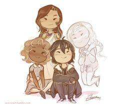 Happy Nico with Hazel, Reyna, and Bianca!