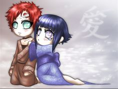 Chibi Gaara and Hinata.