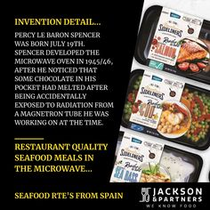 Food History; on this day 1894; Percy Le Baron Spencer was born. Spencer developed the microwave oven in 1945/46, after he noticed that some chocolate in his pocket had melted after being accidentally exposed to radiation from a magnetron tube he was working on at the time. #Foodhistory #jacksonandpartners #seafoodreadytoeatmeals Burger Recipes, Pork Recipes, Seafood Recipes, Le Baron, Steak Rubs, Homemade Burgers, Sea Bass, Microwave Oven, Tube