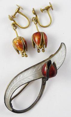 Vintage 1940s 50s Norway Sterling Silver Guilloche Enamel Flower Brooch Earrings   eBay