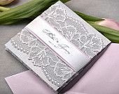 Lace and Silver Lace  Wedding Invitation, Pocket Fold Wedding Invitations , Vintage Pink Wedding invitation,