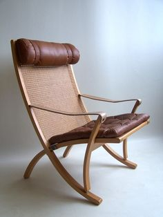 Sigurd Ressel; Wood, Cane and Leather Folding Chair for Vatne Mobler, 1960s.