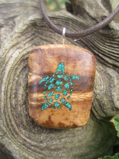 Turtle/Tortise Inlay Necklace- Malachite inlaid in Reclaimed Spalted Myrtle Wood