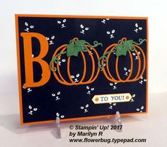 Check out this amazing card Marilyn made for a recent Team swap. She used the Patterned Pumpkins thinlit dies for the pumpkins, leaves and vines. The Large Letter framelits were used for the 'B'. A