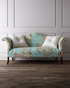 Jadda Sofa Haute House Into The Wild Fabric Pattern Upholstered Yellow Nailhead Trim Blue Living Room