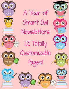 Smart Owl Themed Classroom Newsletters