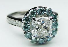 Cushion Diamond Cathedral Engagement Ring Blue Diamonds Halo - ES1048