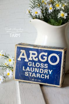 Vintage Argo Gloss Laundry Starch Box - 8 oz Vintage Advertising - Laundry Bath Room - Country Farmhouse Retro Chic Decor - 1960s Drugstore
