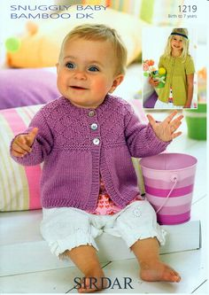 Long and Short Sleeved Cardigan in Sirdar Snuggly Baby Bamboo DK - Discover more Patterns by Sirdar Snuggly at LoveKnitting. The world's largest range of knitting supplies - we stock patterns, yarn, needles and books from all of your favorite brands. Sirdar Knitting Patterns, Baby Cardigan Knitting Pattern Free, Baby Sweater Patterns, Knitted Baby Cardigan, Knit Baby Sweaters, Knitted Baby Clothes, Cardigan Pattern, Baby Girl Cardigans, Baby Bamboo