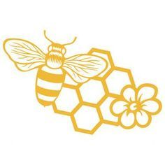 Silhouette Design Store bee, comb, and flower Bee Silhouette, Silhouette Design, Bee Stencil, Honey Logo, Bee Crafts, Bee Art, Bee Design, Logo Design, Bee Theme