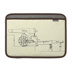 Macbook Air slim line sleeve  Splendid 19th-Century technical drawing of a 24-pounder gun mounted on a wooden barbette-carriage, taken from the official Instruction for Heavy Artillery manual published in 1851 by the War Department in Washington, D.C.It is complimented by a map of Charleston Harbor on the Sleeve's reverse side, as this South Carolinian seaport appeared early in 1861 -- on the very eve of the Civil War.