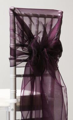 Snow Organza Chair Caps/Hoods - Plum cvlinens.com