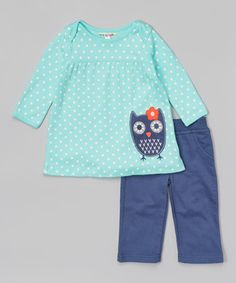 Another great find on #zulily! Turquoise Polka Dot Owl Dress & Leggings - Infant & Toddler #zulilyfinds