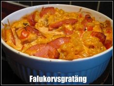 falukorvsgratäng Sausage Recipes, Pasta Recipes, Cooking Recipes, Swedish Recipes, Sweet Chili, Dessert For Dinner, Recipe For Mom, Cheap Meals, Cheap Food