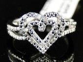 NEW LADIES WHITE GOLD FINISH DIAMOND WEDDING ENGAGEMENT PROMISE LOVE HEART RING
