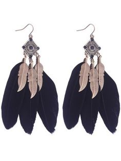 Product Geometric Alloy Leaf Feather Drop Earrings available for Zaful WW, get it now ! Feather Jewelry, Leaf Jewelry, Feather Earrings, Unique Earrings, Women's Earrings, Geometric Jewelry, Black Earrings, Black Feathers, Fringe Earrings
