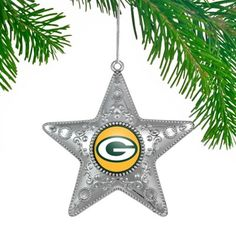 Green Bay Packers Silver Star Ornament