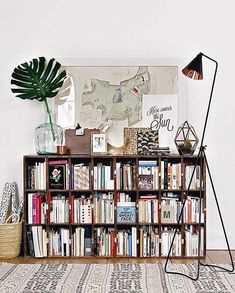 10 Bookshelves for the Home. Bookshelves are a great way to showcase the unique decor you love -- whether it's books or other collectibles from your travels, they're a fun way to show who you are. Pin to your own home decor board! Nachhaltiges Design, Deco Design, House Design, Design Ideas, Loft Design, Design Styles, Design Projects, My New Room, My Room