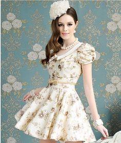 Vestido retrô em Círculos Fashion com Vestidos retrô