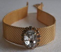 Vintage Mesh Crystal Collar Necklace ~ StarliteVintageGems ~ SOLD