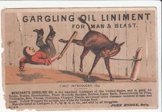 Merchant's Gargling Oil Liniment Donkey Foot & Snell Hardware Dover NH  c1880s #MerchantsGarglingOil