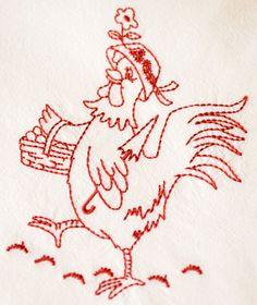 Vintage Chicken Design on Premium Flour Sack Towel by jjhcreations, $6.50