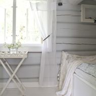 Ethereal white and grey summer cottage bedroom. Wooden Cottage, White Cottage, My Ideal Home, Tiny Cabins, Cottage Interiors, White Paneling, Cabin Homes, White Decor, Interior Design Inspiration