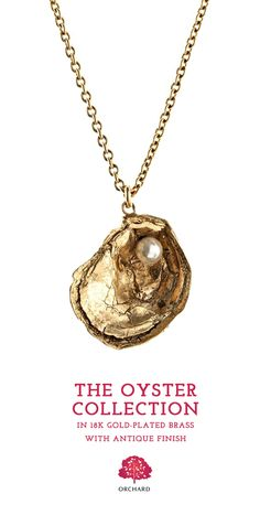 """Sea inspired 18K Gold Oyster Necklace by Orchard Jewelry. This artistic ocean inspired beach jewelry is seductive. This pendant necklace includes a """"""""pearl"""""""" on a classic 18"""""""" gold chain and commands attention at parties. #oyster #gold #necklace"""