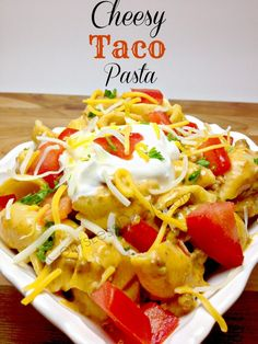 """Cheesy Taco Pasta recipe. one pinner said """"I just threw this together one night because I had all the ingredients and everyone scarfed it up!! I give this recipe an 8 with taste and how easy it is to make! definitely making it again!"""""""
