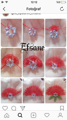 Diy Crafts - This Pin was discovered by Gam Lace Flowers, Crochet Flowers, Fabric Flowers, Silk Ribbon Embroidery, Embroidery Stitches, Hand Embroidery, Seed Bead Tutorials, Beading Tutorials, Needle Tatting