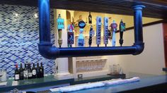 Our ceiling hung draft beer tower at Pam's Patio Kitchen in Texas www.tappedbeer.com