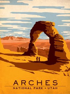 iCanvas Art & Soul Of America National Parks Collection: Arches National Park (Delicate Arch) Gallery Wrapped Canvas Art Print by Anderson Design Group Pub Vintage, Photo Vintage, Vintage Style, Retro Style, Vintage Gifts, Vintage Inspired, Retro Vintage, Old Poster, Us National Parks