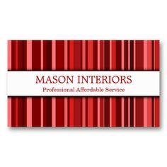 Professional Red Interior Designer Business Card
