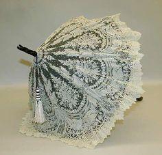 Parasol Date: late century Culture: American Medium: silk, metal Dimensions: Diameter: 21 in. Lace Umbrella, Lace Parasol, Vintage Umbrella, Under My Umbrella, Lace Corset, Lace Ruffle, Victorian Era, Victorian Fashion, Vintage Fashion