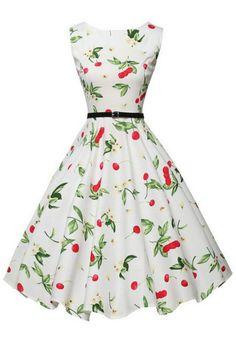 Hepburn Wind Vintage Cherry Floral Printed Sleeveless Swing Dress