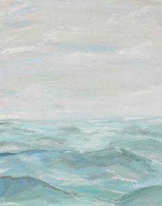 Waves ocean original acrylic painting on 16x20 by OldBunnyStudio, $50.00