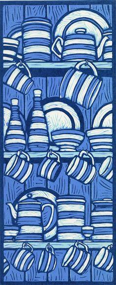 Jill Kerr 'The Dresser' Linocut Linocut Prints, Art Prints, Block Prints, Lino Art, Cornishware, Linoleum Block Printing, Linoprint, Wood Engraving, Woodblock Print