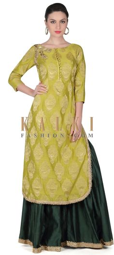 Buy this Green straight suit embellished in zardosi butti only on Kalki
