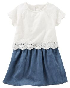 Crafted as one easy piece with chambray topped by eyelet lace, this dress is twice as nice!<br>