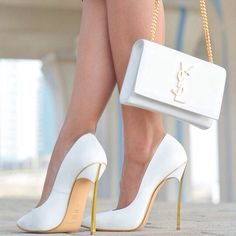 White stilettos with gold heels and matching clutch for Yves St. Laurent #FCM #Glamorous #YSL