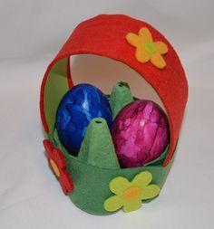 Ein kleines Osternest aus einem Eierkarton basteln
