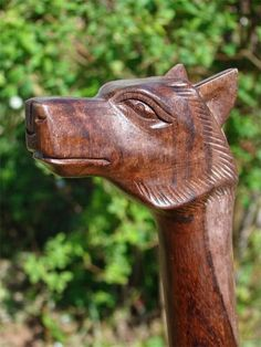 Gift For Grandpa: Fairtrade Solid Wooden Wolf Walking Stick