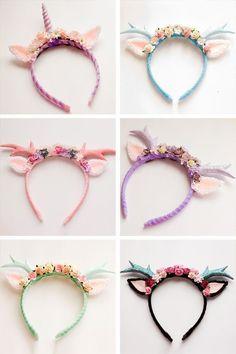 Unicorn Birthday Party Ideas - handmade deer and unicorn bands