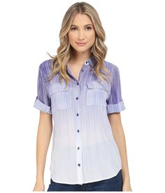 EQUIPMENT Women's Short Sleeve Slim Signature Biro Blue Multi Button-up Shirt. Elevate your wardrobe in this Short Sleeve Slim Signature. Lightweight silk blouse flaunts an ombre striped design throughout. Fold-over collar. Short sleeves with buttoned tabs and tacked cuffs. Inverted pleat at straight back yoke. Dual flap chest pockets. Full button-up front closure. Curved hemline. 100% silk. Dry clean only. Imported. Measurements: Length: 28 in Product measurements were taken using size…