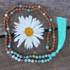 Amazonite and Rudraksha Mala