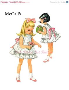SALE Vintage 1960s McCalls 8551 Designed By Helen Lee Girls Back Buttoning Ruffle Pinafore Dress with Layered Under Skirt Sewing Pattern Siz...