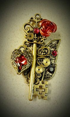 "Keys & Locks:  ""Gold and Ruby Fantasy #Key,"" by Starl33na, at deviantART."